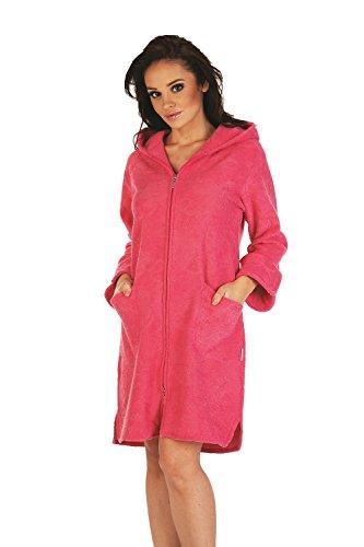 FOREX Lingerie flauschiger Bademantel Mantel mit praktischem Reißverschluss und kuscheliger Kapuze, himbeer, Gr. XL
