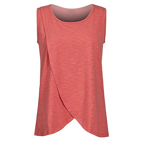 Hotsellhome 2018 New Women's Maternity Nursing Wrap Top Cap Sleeveless Double Layer Cotton Blouse T Shirt Comfy Breastfeeding Pullover Clothes (Red, L)