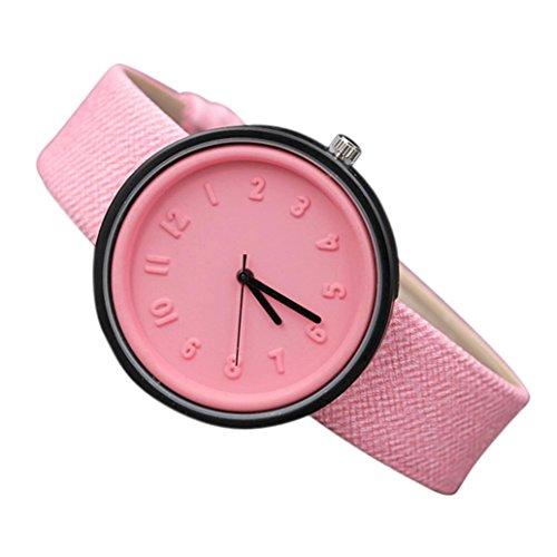 Coolster Unisex Einfache Zahl Uhren Bequeme Segeltuch-Gürtel Armbanduhr Armband (Rosa)