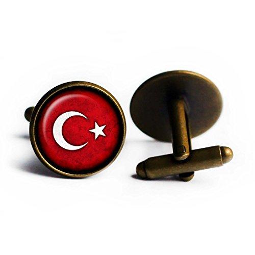 Antike Türkei (Turkey Turkish Flag Türkische Flagge der Türkei Antike Bronze Manschettenknöpfe)