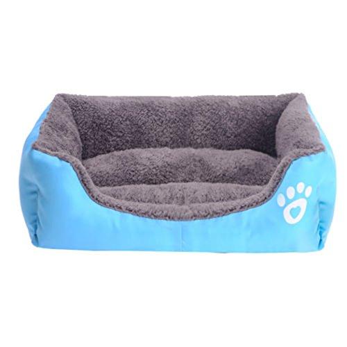 Yihya Lavabile Carina Quadrato Blu Cadere Inverno Morbido Molle Pet Puppy Gatto Canile Sonno Letto Doggy Doghouse Cuscino Basket (Grande: 68 * 55 * 16cm)