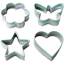 Ecoart Molde/Cortador para galletas, 4 unidades, acero inoxidable,con forma de corazón, mariposa, flor, estrella, color plateado