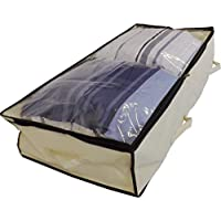 Neusu Heavy Duty Underbed Storage Bag with Clear Lid (Beige, Large 100x50x20cm)