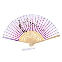 TREW Chinese stijl Dance Party Wedding Lace Silk Folding Hand Held Flower Fan Party prestaties hand-held props (Color : Purple)