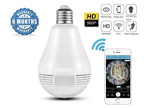 FINICKY-WORLD 360 Degree Wireless Panoramic Bulb 360° IP Camera with Night Vision, Hidden Camera, 2-Way Audio and Micro 128GB SD Card Support