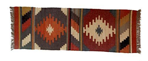Bazar indischer Yogamatte, Wendedecke, ca. 2 x 1,8 m, Jute/Kilim Teppich, Ethno-Stil, wendbar, Jute/Kilim/Gebetsläufer, Vintage-Stil, handgewebte Bodenmatte, Natur-Jute-Teppich -