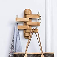 INMAN HOME Solid Wood Swivel Coat Rack Foldable Swing Arm 5 Hooks Coat Hanger Rail Towel/Clothes Hanger for Bathroom Entryway Bedroom Office Kitchen Kids Garage Wall Mount Accessories