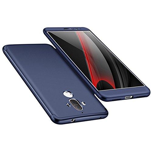 Huawei Mate 9 Hülle, 3 in 1 Ultra Dünner PC Harte Case 360 Grad Ganzkörper Schützend Anti-Kratzer Schutzhülle Vollschutz Hülle für Huawei Mate 9 Fall Premium mattierte Schutzharte Komplettschutz Handy Blau