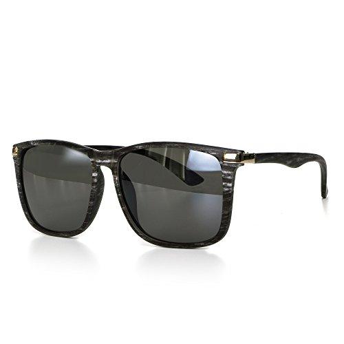 Sonnenbrille Holz Herren oder Damen Unisex Motorradbrille Retro Verspiegelt UV400 CAT 3 CE-Norm gold silber schwarz blau von EYES ON ME, Farbe:Dunkelgrau Schwarz Getönt