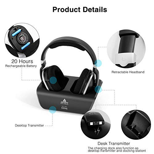 Digitales Funkkopfhörer 2.4GHz Übertragungsfrequenz Over Ear Kabellose Kopfhörer mit Ladestation Lautstärkeregler Geräuschunterdrückung Stereo Kopfhörer für Fernseher, HiFi, CD, DVD Spieler - 2