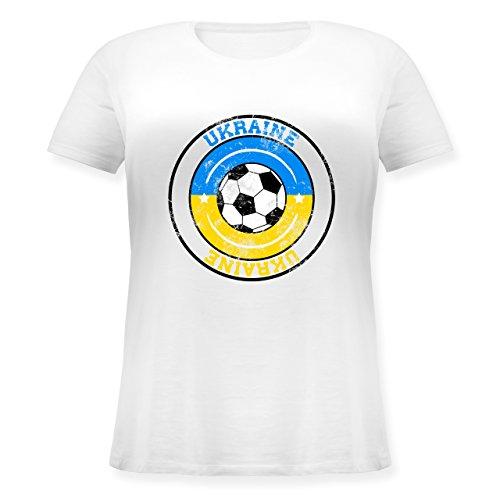 ... großen Größen mit Rundhalsausschnitt Weiß. EM 2016 - Frankreich - Ukraine  Kreis & Fußball Vintage - Lockeres Damen-Shirt in