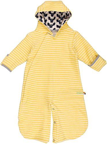 loud + proud Unisex Baby Schlafsack 2 in 1 Overall, Gelb (Honey/Natural Hon/Na), 56 (Herstellergröße: 50/56) (Overalls Baumwolle Gestreiften)