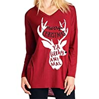 Gusspower Camisa Mujer Casual Suelto Manga Larga Blusa Cuello Redondo Pulóver de Invierno Blusa para Mujer Alce de Navidad Imprimir
