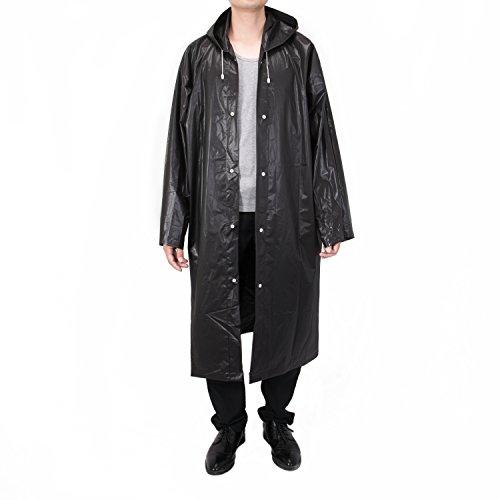 Vancool Fashion Durable EVA Schwarz Regen Mantel Regen Poncho Unisex Männer Frauen mit Hauben und Sleeves, wiederverwendbare, tragbar, faltbar.