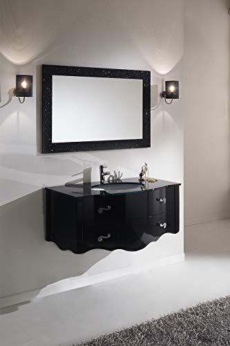 Piesse mobili mobile da bagno classici in legno massello arredo classico arredobagno sospeso nero con lavabo cristallo specchio