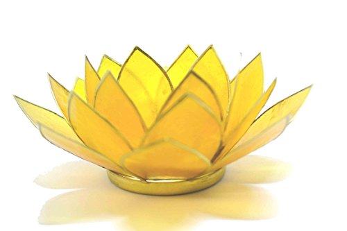 Beautiful-Large-Yellow-3rd-Chakra-Lotus-Flower-Tea-Light-Candle-Holder-Free-Postage