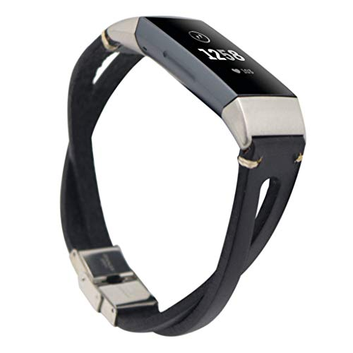 Upxiang Leder Armband Kompatible für Fitbit Charge 3 Retro Sport Ersatz Uhrenarmband Fitness Tracker Smart Watch Zubehör Band Strap