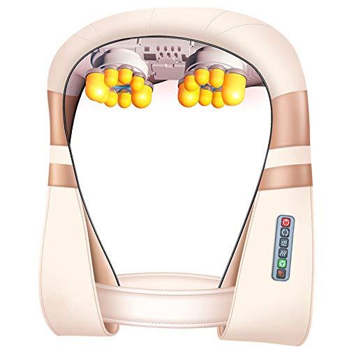 HGBKJUO Elektrische Massagegerät, Schulter Massagegerät für Nacken Rücken Shiatsu Massagegerät mit Wärmefunktion 3D Rotation Masseur Massage für Haus Büro Auto,Velcro (3d-rücken-massagegerät)