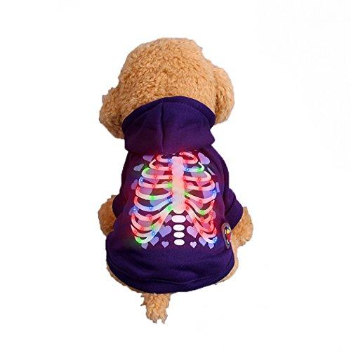 (Abcsea Haustier Kostüm, Haustier Kleidung, Hund Kleidung, Haustier Glühen Kleidung, Leuchten Im Dunkeln, Hund Halloween Halloween Glühen Kostüm, Liebe Herz Rippen Stil - Lila - L)