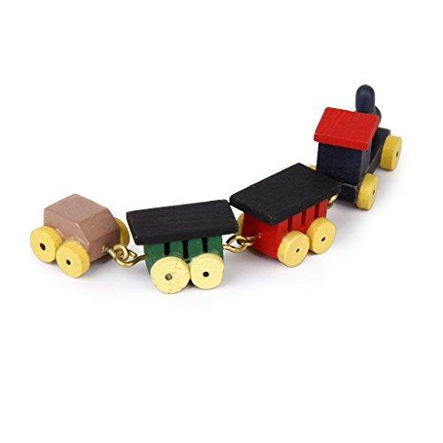 Puppenhaus Dekoration - TOOGOO(R)1/12 Puppenhaus Miniatur Hoelzerne Spielzeugeisenbahn Satz und Kutschen Miniatur-zug