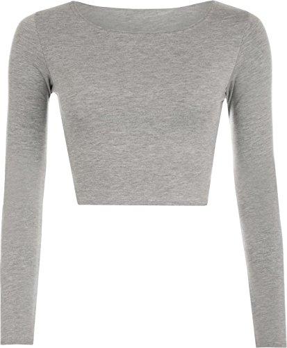 Janisramone Frauen lange Ärmel Rundhalsausschnitt Ernte oben t shirt Grey