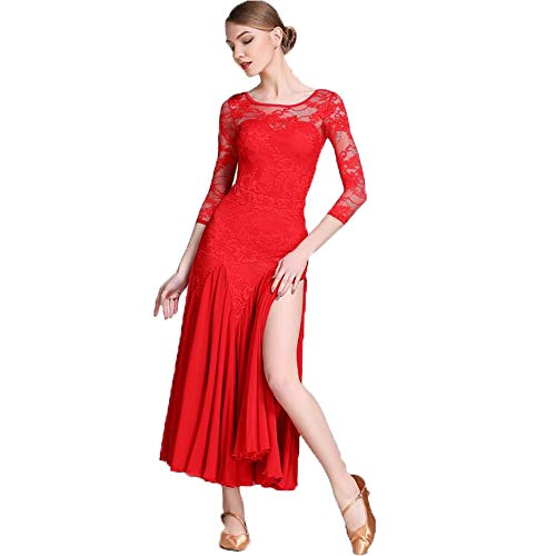 CPDZ 2019 Latin-Tanzkleid rote Spitzenfaser Salsa Ballett Rock Professional Tänzer Kostüm (Latin Salsa Tänzer Kostüm)