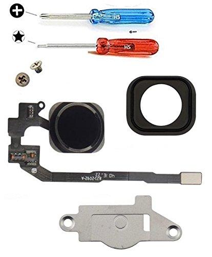 """MMOBIEL Bouton Home pour iPhone 5S (Noir) avec Connecteur nappe """"flex"""", Cadre en métal, protège bouton et joint en caoutchouc préinstallés + Set complet Vis / Tournevis adaptés (x2)"""