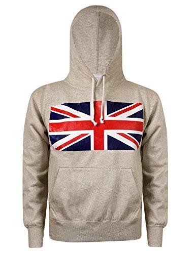 Da uomo Designer Felpa Con Cappuccio Caldo tasche laterali di stampa Union Jack bandiera del Regno Unito con cappuccio Top-Nuovo arrivo, colore: panna Cream Large
