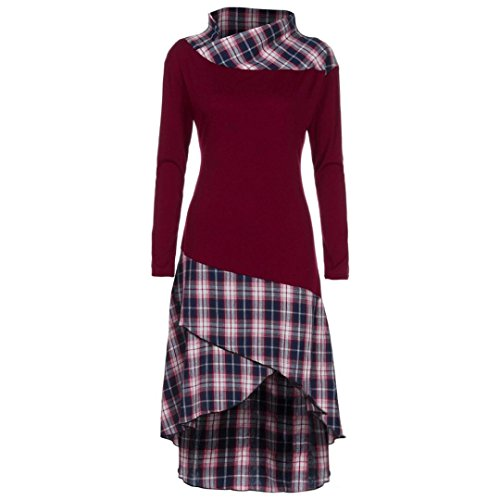 ZIYOU Kleid Damen Kariert Patchwork, Vintage Retro Plaid Kariert Mini Partykleid Casual Rockabilly Kleid (Weinrot, 2XL) (Plaid Blau Shirt L/s)