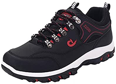 DADAWEN New Men's Big Size Outdoors Trekking Hiking Travelling Lace-up Sneakers Sports Shoes-Black 6 UK Size