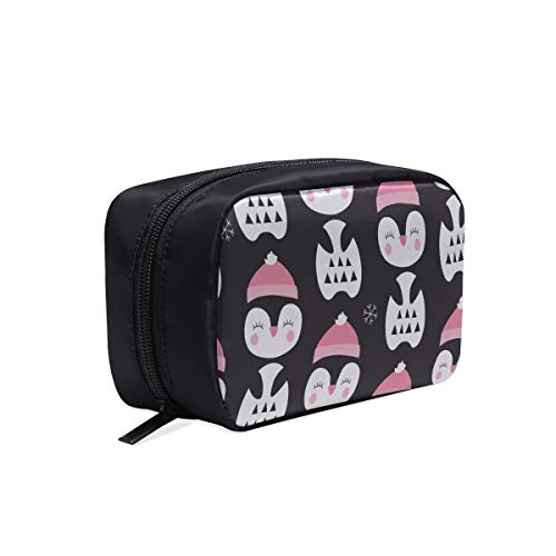 Leinwand Make-Up Tasche Kleine Glückliche Pinguin Cartoon Reisetasche Reißverschluss Kosmetische Reisetaschen Kinder Reisetaschen Für Mädchen Kosmetiktaschen Multifunktions Fall Werkzeug Rei (Kinder Jubeln-tasche)