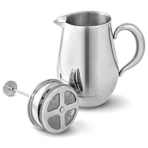 VeoHome - Cafetière à Piston - Incassable et garde le café chaud longtemps grâce à sa double coque inox (Grande (1Litre))