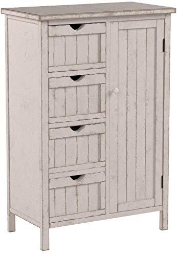 Mendler Kommode HWC-D12, Schrank Schubladenkommode, Shabby-Look Vintage 82x55x30cm ~ weiß