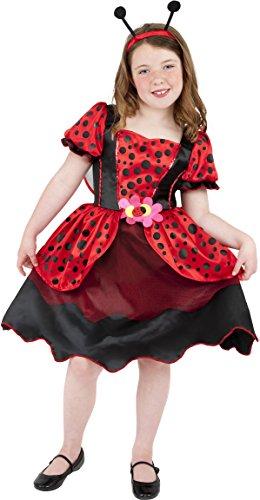 Marienkäfer Kostüm Kleid - Smiffys Kinder Kleiner Marienkäfer Kostüm, Kleid, Flügel und Haarband, Größe: M, 38636
