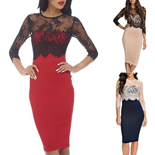 Smile YKK 2/3 Aermel Spitze Damen Rundhals Bodycon Kleid Slim Fit Kleid Festlich Kleid Business Kleid Rot
