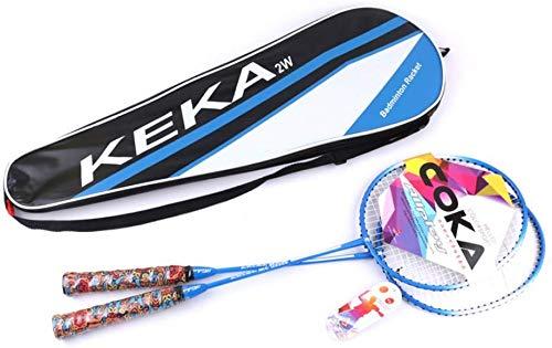 FXDCQC 2 Player Badminton Schläger Set - inkl. 2 Carbon Fiber Schaft Schläger/1 A Badminton Tasche