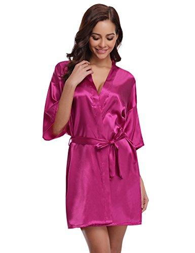 Aibrou Pigiama Kimono,Elegante Vestaglia Raso Corta, Camice da Notte con Cintura roso