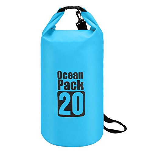TRELC Dry Bag For Outdoor Activities - Waterproof Protective and Lightweight - Great For Diving Hiking Camping Boating Kayaking Fishing Rafting Swimming Floating (20L, Blue)