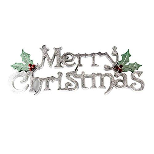 CHTEN Tür-Aufhänger Weihnachtsbaum-Verzierung Feiertags-Zeichen-Dekoration-Partei-dekoratives 15cm (Silber) (Frohe Zeichen)