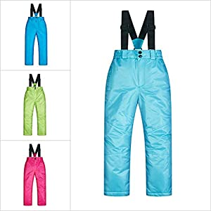 Sanmubo Wasserdichter Winddichter Mädchen Skianzug Schneeoverall mit Manschetten Baumwolle Kinder Skiset Jacke+Hosen Set, Blau Grün Pink, 8(120)-16(160)