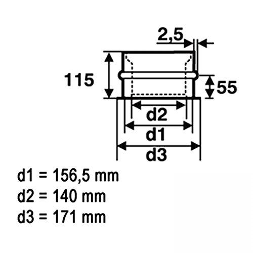 73539dd80b7fb Die Beste raik SH012-150-sw Rauchrohr   Ofenrohr 150mm ...