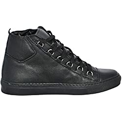 Malu Shoes Sneakers Uomo Alta Stringata Nera Pelle Made in Italy Men Shoes Scarpe