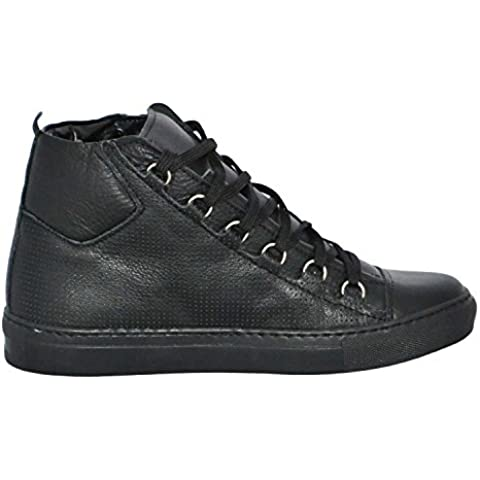 Sneakers Uomo Alta Stringata Nera Pelle Made in Italy men