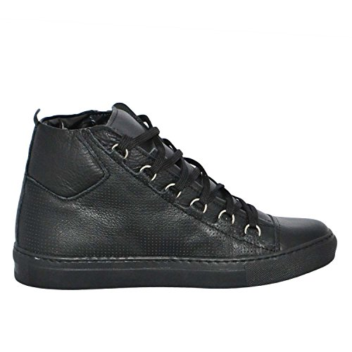 Sneakers Uomo Alta Stringata Nera Pelle Made in Italy men shoes scarpe (42)