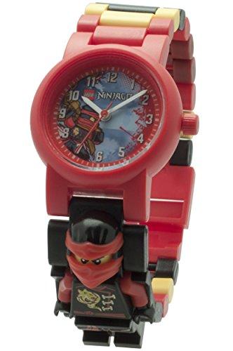 LEGO Ninjago Sky Pirates Kai Kinder-Armbanduhr mit Minifigur und Gliederarmband zum Zusammenbauen | rot/schwarz | Kunststoff | Gehäusedurchmesser 28 mm | analoge Quarzuhr | Junge/ Mädchen | offiziell