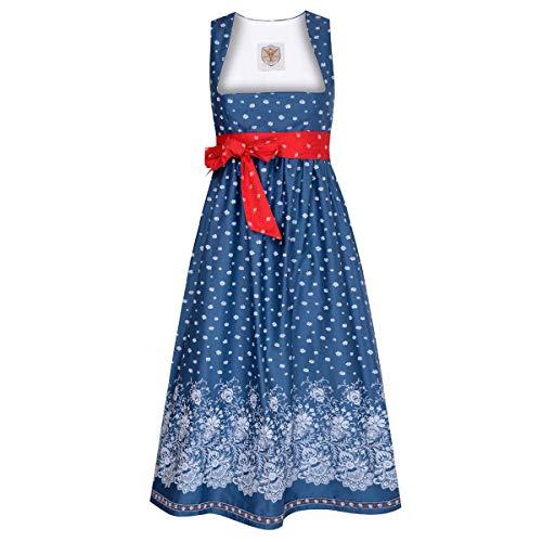 Dirndl für Schwangere Rosl in Blau mit Blumen und roter Schleifer