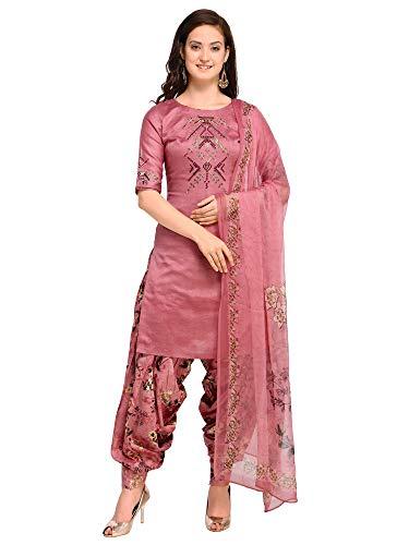 AKHILAM Women\'s Cotton Blend Embroidered Unstitched Salwar Suits Dress Material Set (Mauve_Free Size)