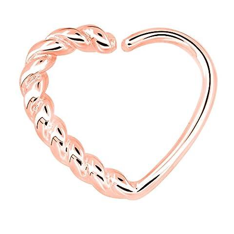 OUFER Body Piercing Überzogen mit Ros-Gold 18k, 16gauge Multifunktions herzförmige Knorpelohrringe Cartilage Heart Tragus Earrings Hoop (Rose Gold)