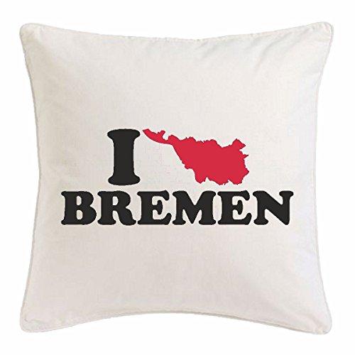 Reifen-Markt Kissenbezug 40x40cm I LOVE BREMEN - DEUTSCHLAND - GERMANY - HAFEN - HAUPTSTADT aus Mikrofaser in Weiß