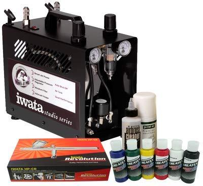 Iwata Textil-Airbrush-Kit mit Power Jet Pro Kompressor -